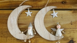 Picture of Wooden Hanging Moon - Silver